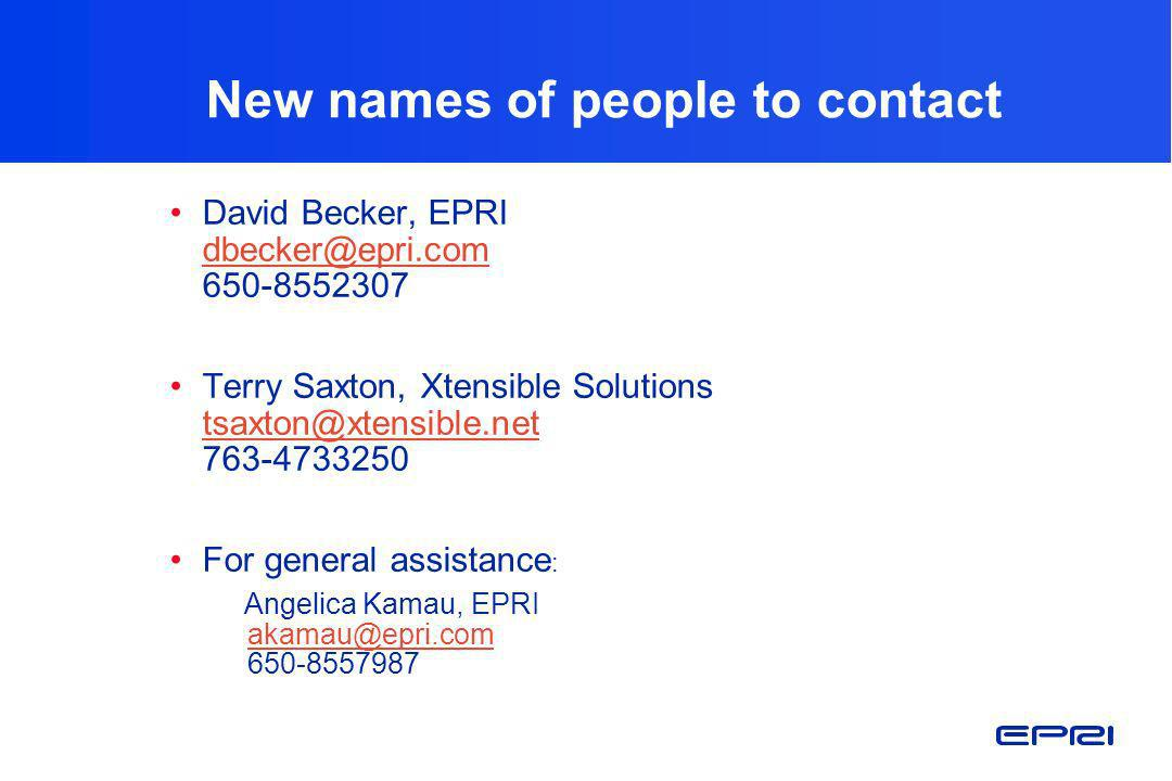 New names of people to contact