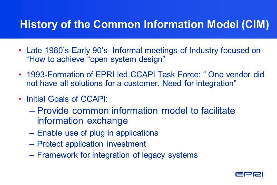 History of the Common Information Model (CIM)