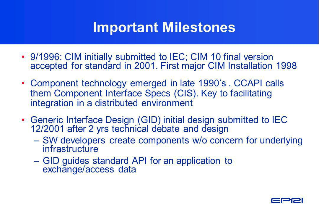 Important Milestones 9/1996: CIM initially submitted to IEC; CIM 10 final version accepted for standard in 2001. First major CIM Installation 1998.