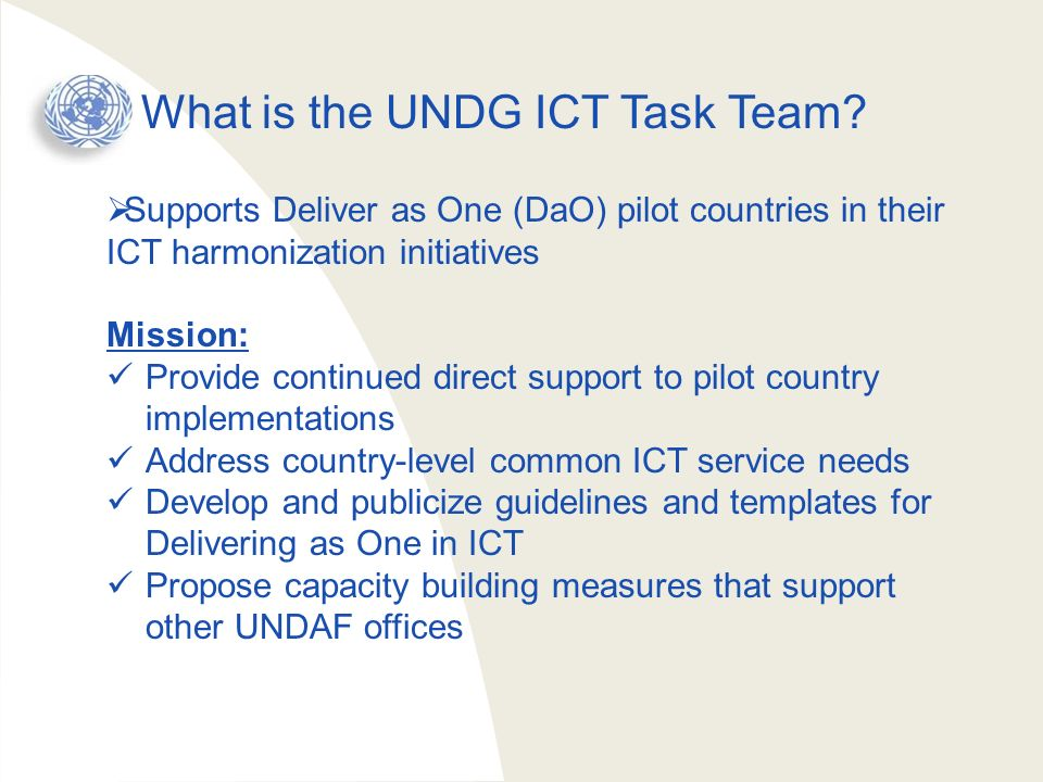 What is the UNDG ICT Task Team