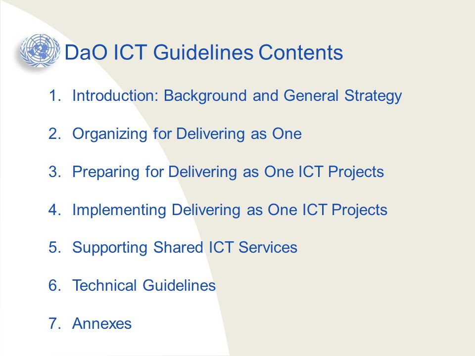 DaO ICT Guidelines Contents