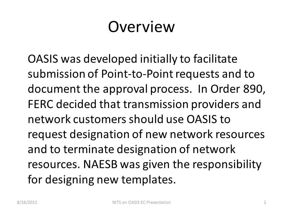 NITS on OASIS EC Presentation