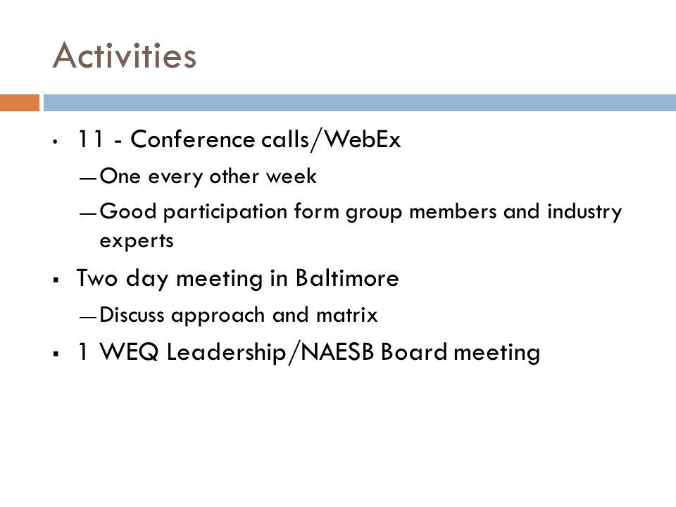 Activities 11 - Conference calls/WebEx Two day meeting in Baltimore