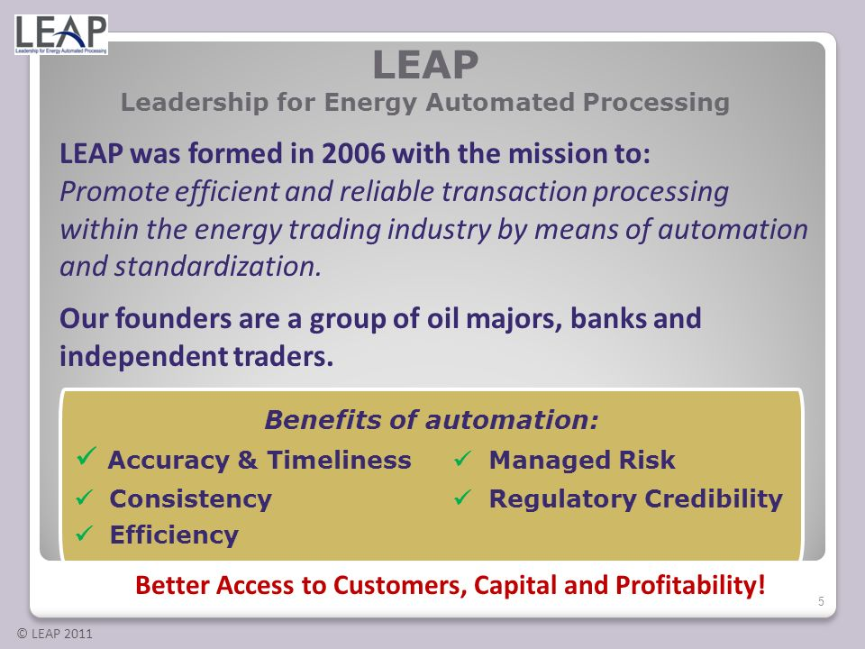LEAP Leadership for Energy Automated Processing