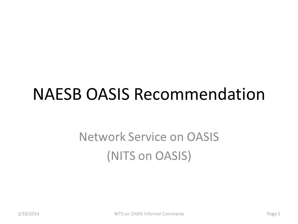 NAESB OASIS Recommendation
