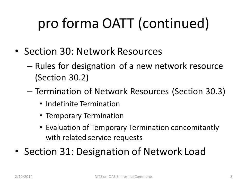 pro forma OATT (continued)