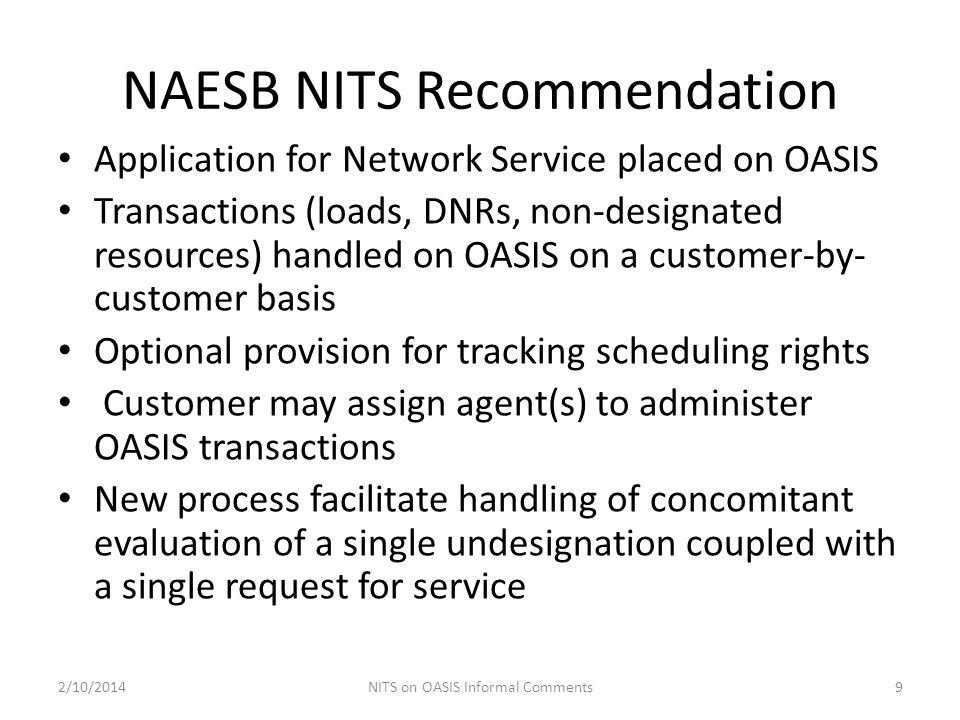 NAESB NITS Recommendation