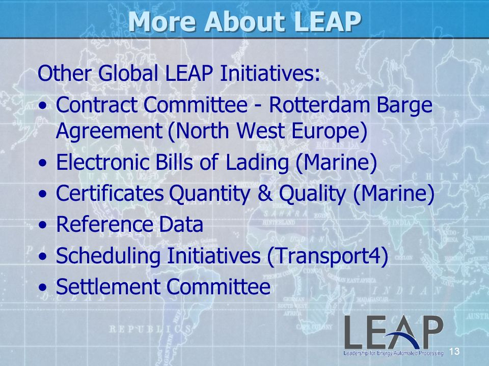 More About LEAP Other Global LEAP Initiatives: