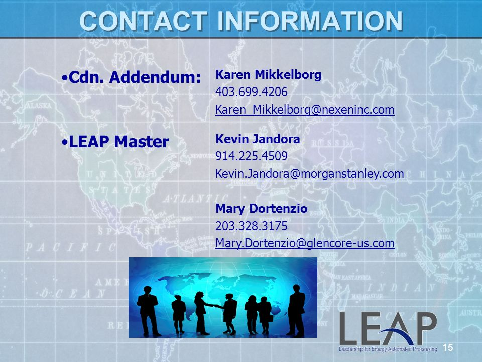 CONTACT INFORMATION Cdn. Addendum: Karen Mikkelborg. 403.699.4206. Karen_Mikkelborg@nexeninc.com.