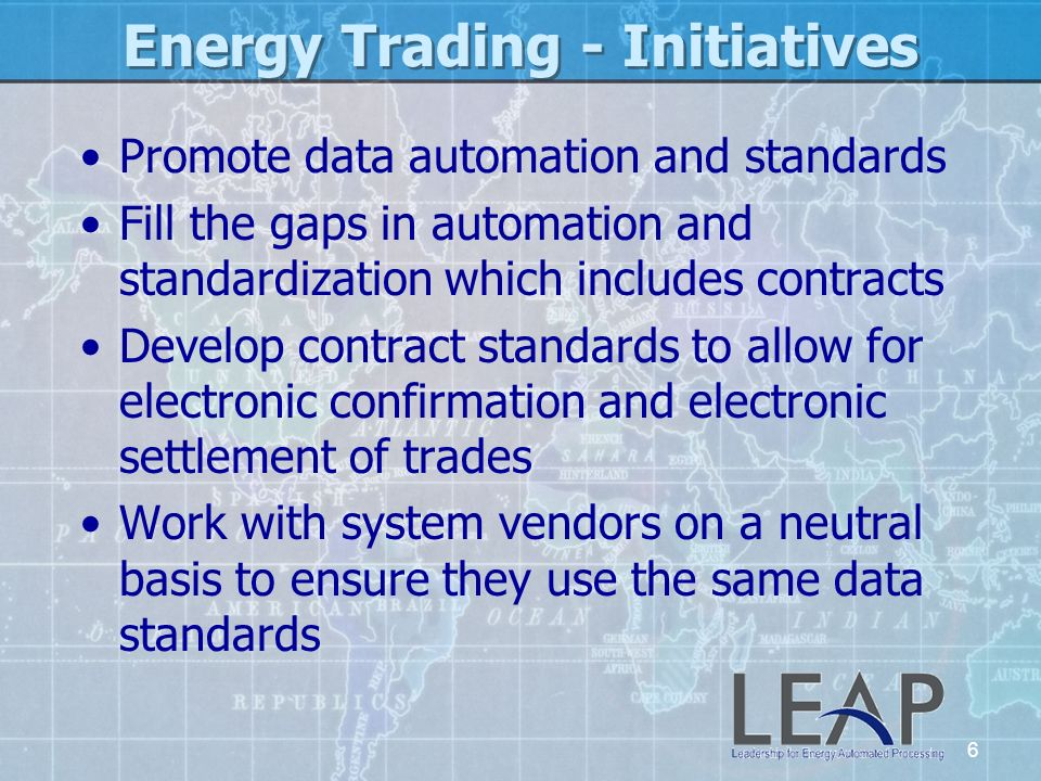 Energy Trading - Initiatives