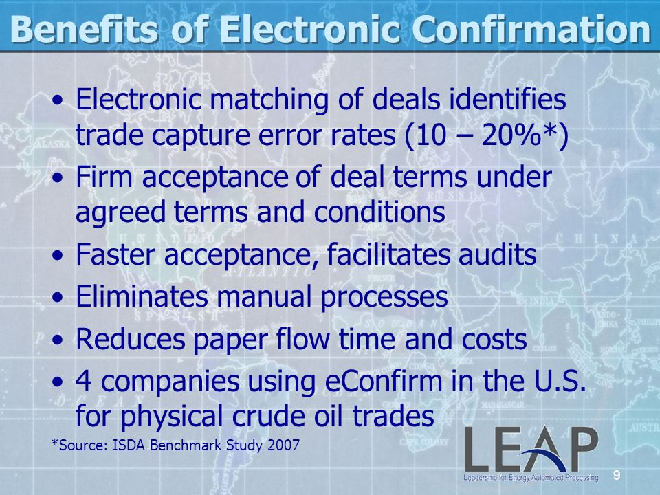 Benefits of Electronic Confirmation