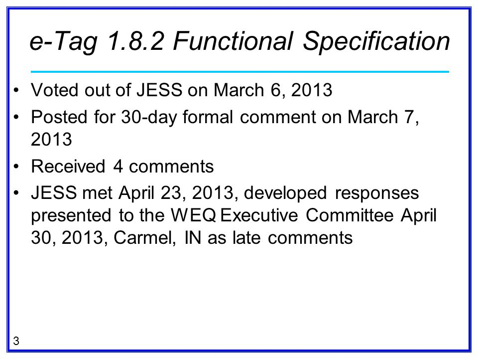e-Tag Functional Specification