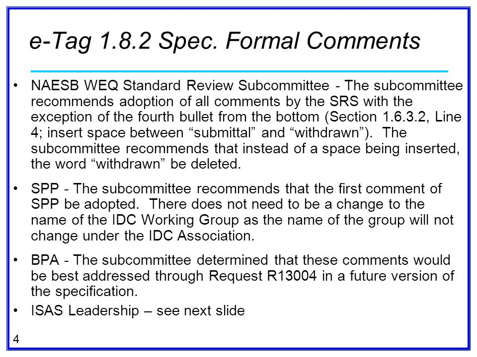 e-Tag Spec. Formal Comments