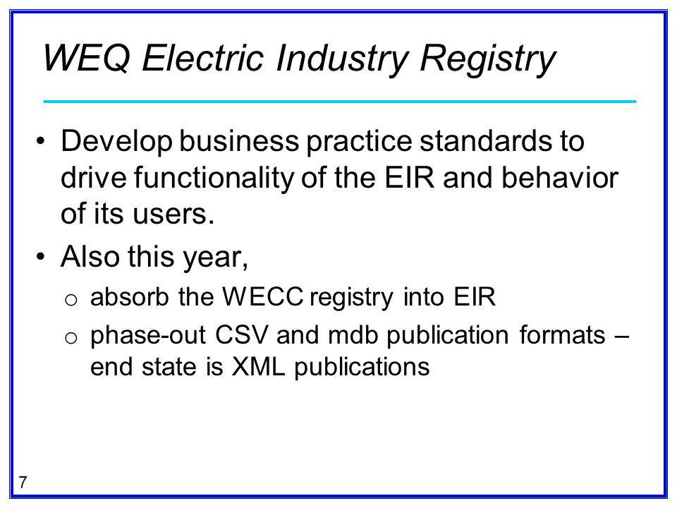 WEQ Electric Industry Registry