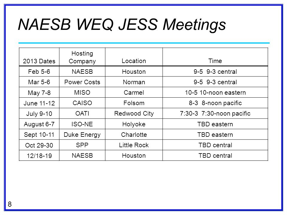 NAESB WEQ JESS Meetings