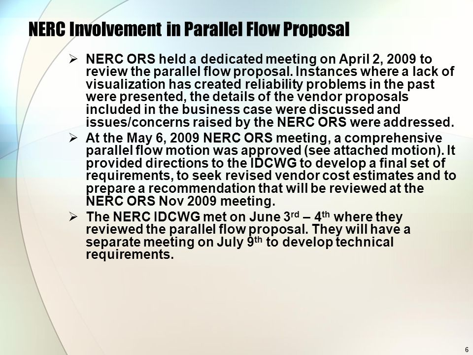 NERC Involvement in Parallel Flow Proposal