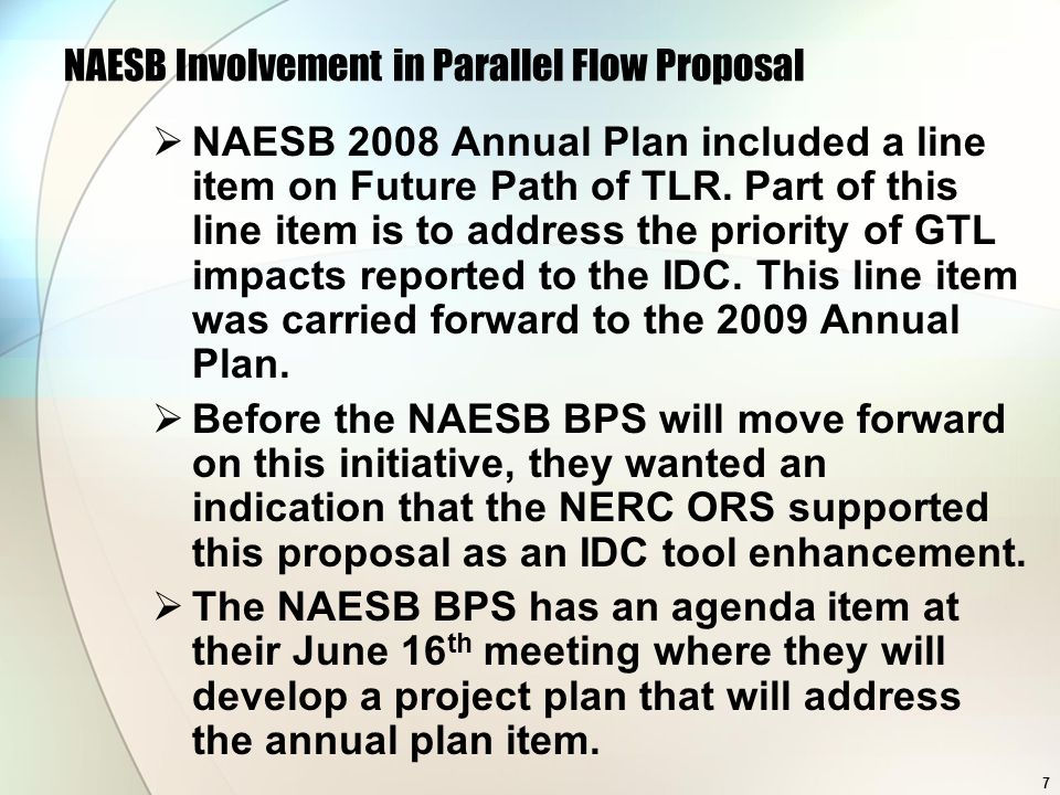 NAESB Involvement in Parallel Flow Proposal