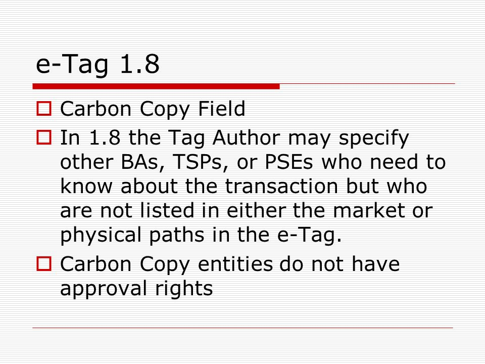 e-Tag 1.8 Carbon Copy Field