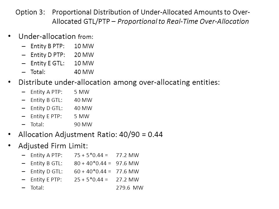 Under-allocation from: