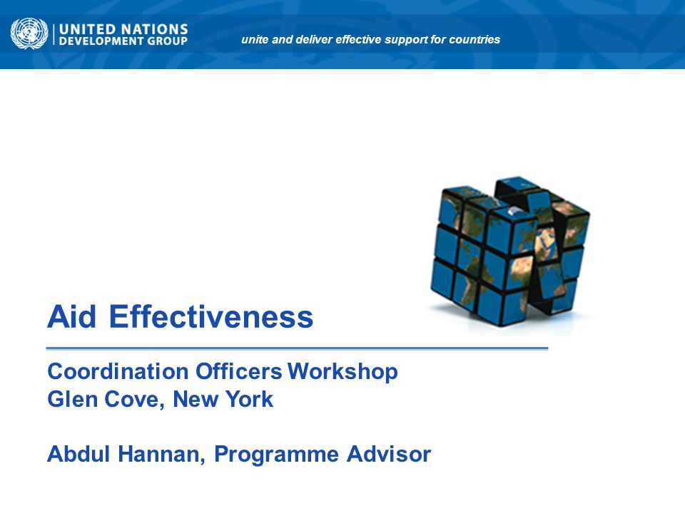 Aid Effectiveness Coordination Officers Workshop Glen Cove, New York