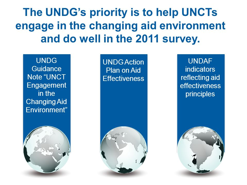 The UNDG's priority is to help UNCTs engage in the changing aid environment and do well in the 2011 survey.
