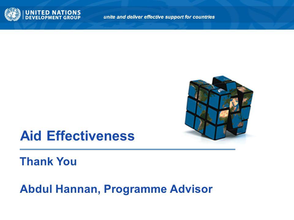 Thank You Abdul Hannan, Programme Advisor