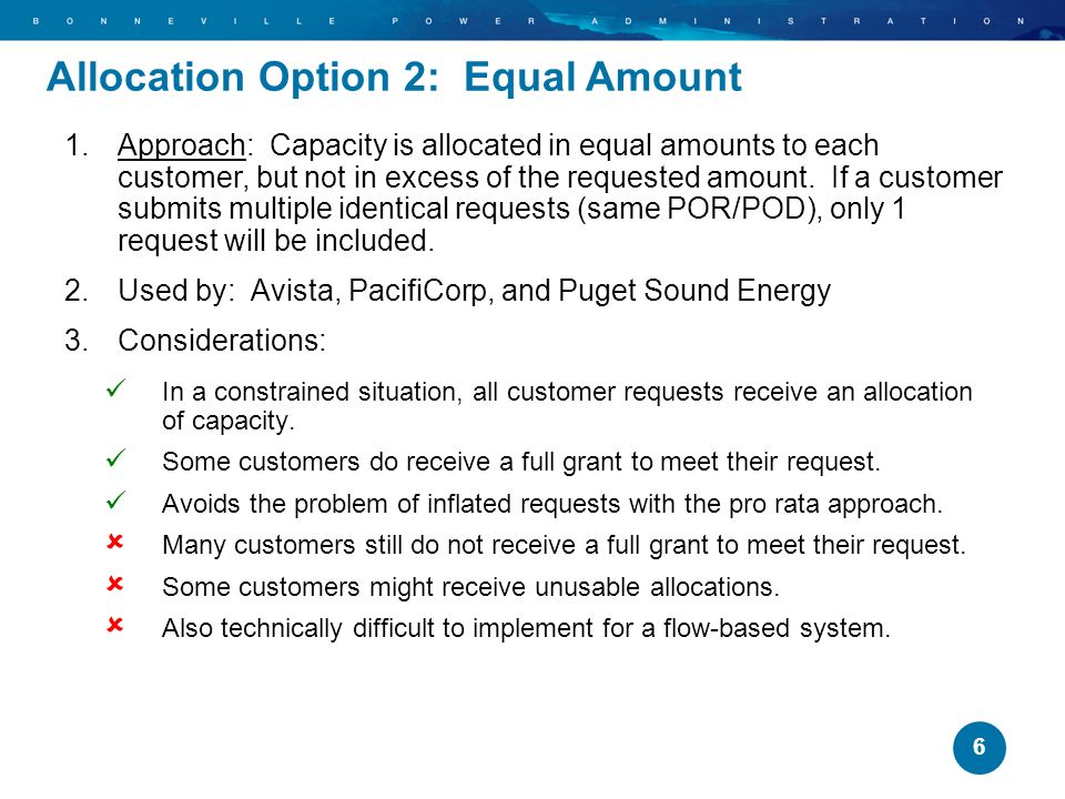 Allocation Option 2: Equal Amount