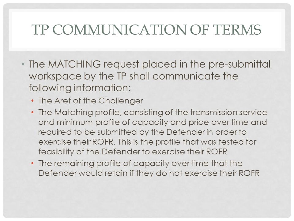 TP communication of terms