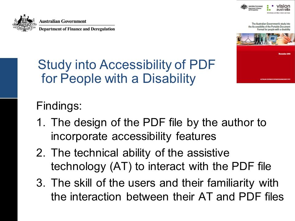 Study into Accessibility of PDF for People with a Disability