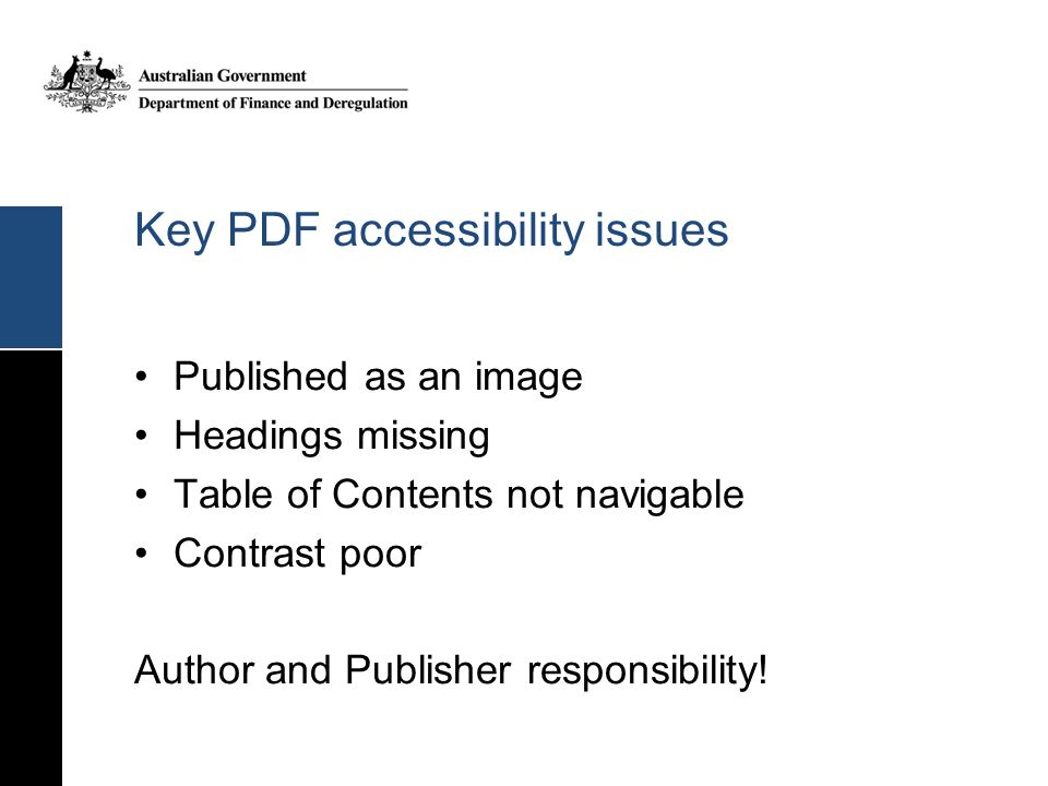 Key PDF accessibility issues