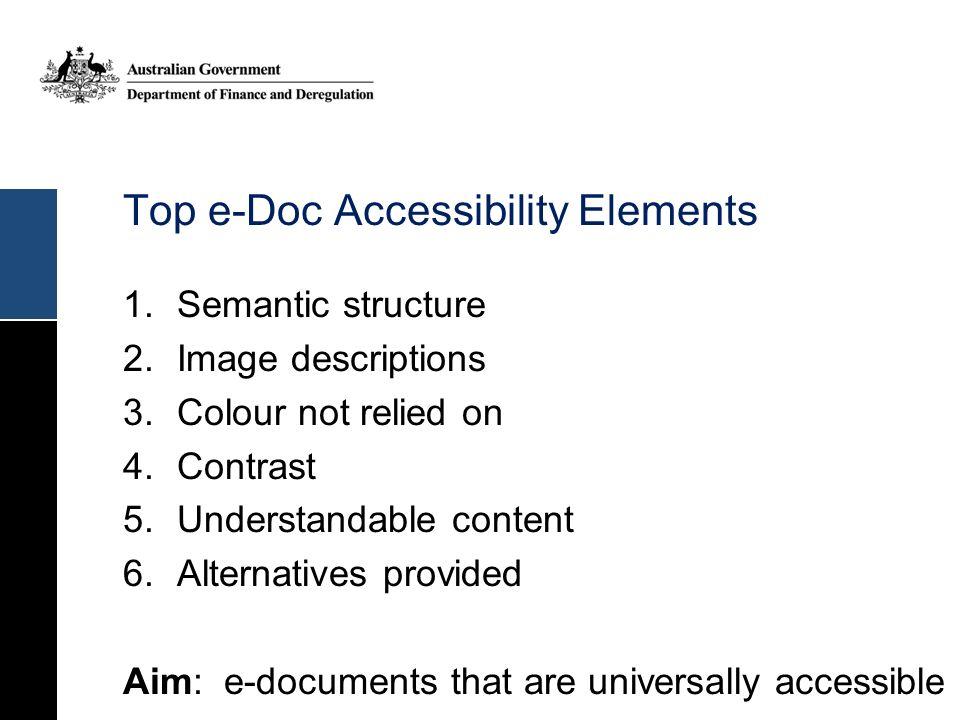 Top e-Doc Accessibility Elements