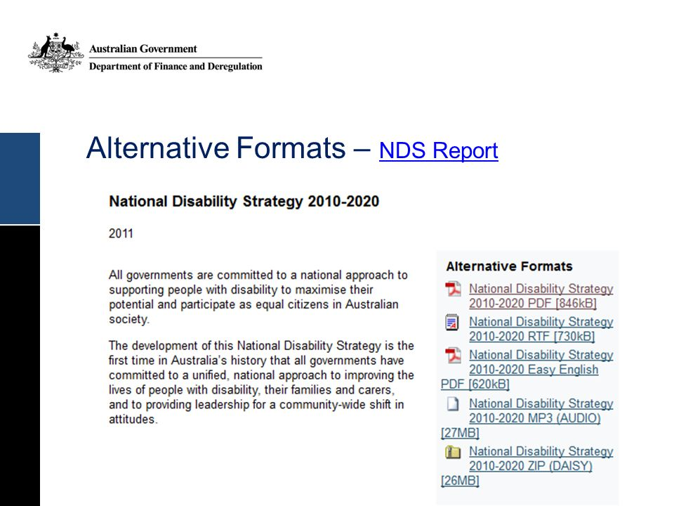 Alternative Formats – NDS Report