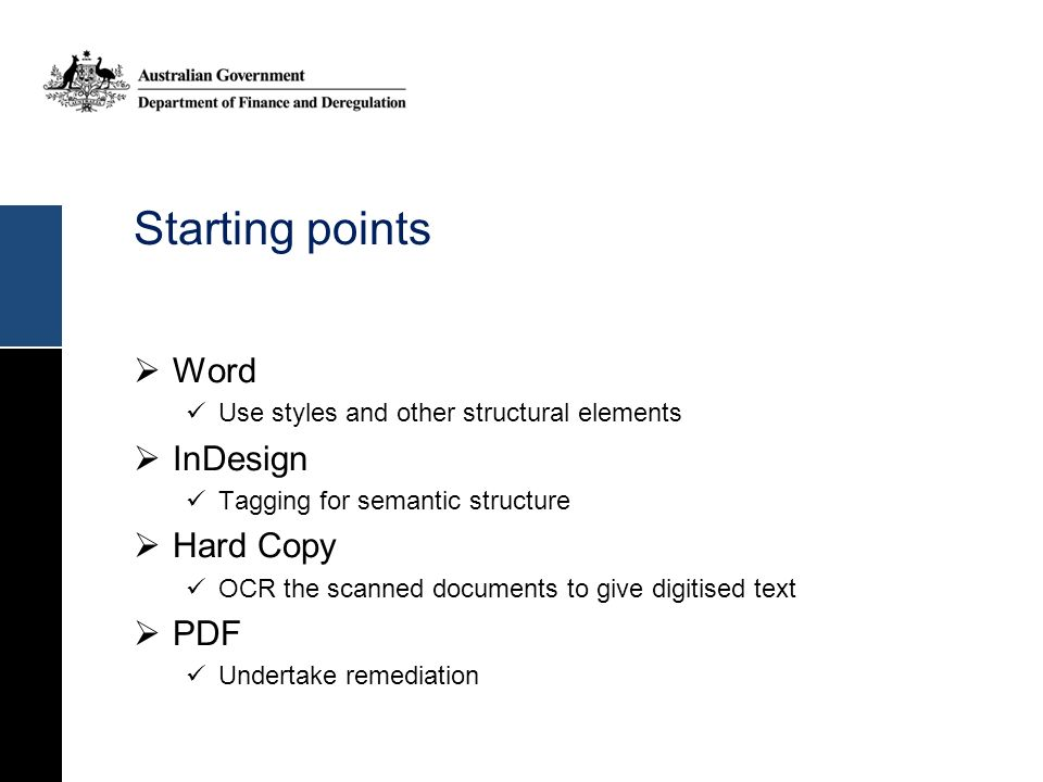 Starting points Word InDesign Hard Copy PDF