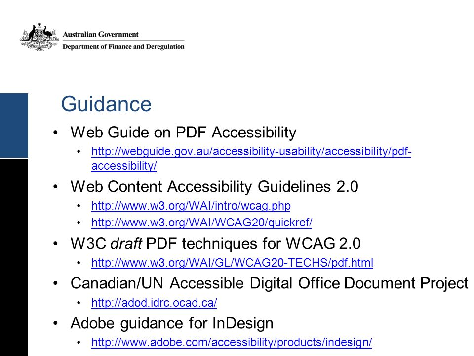 Guidance Web Guide on PDF Accessibility
