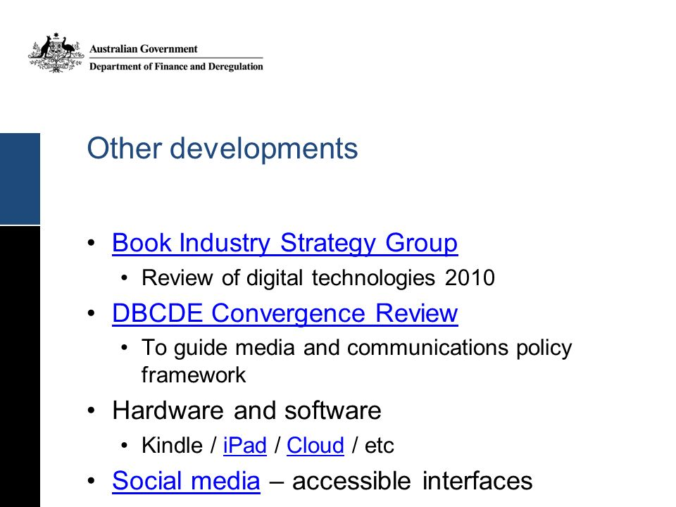 Other developments Book Industry Strategy Group