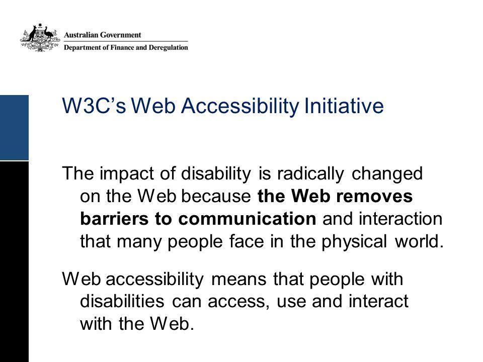 W3C's Web Accessibility Initiative
