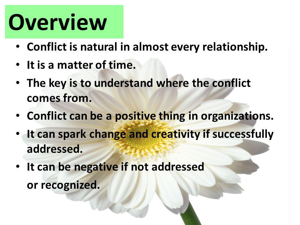 Overview Conflict is natural in almost every relationship.