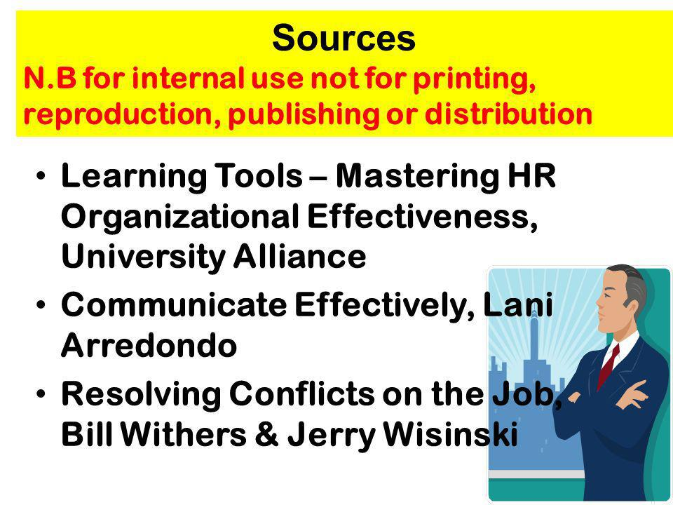 Sources N.B for internal use not for printing, reproduction, publishing or distribution.