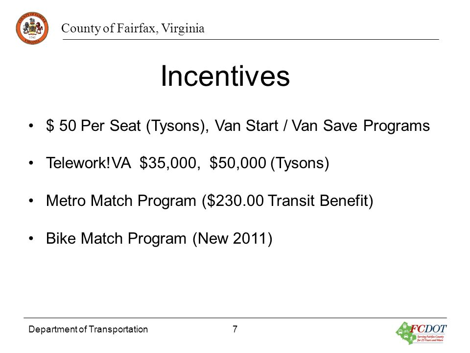 Incentives $ 50 Per Seat (Tysons), Van Start / Van Save Programs