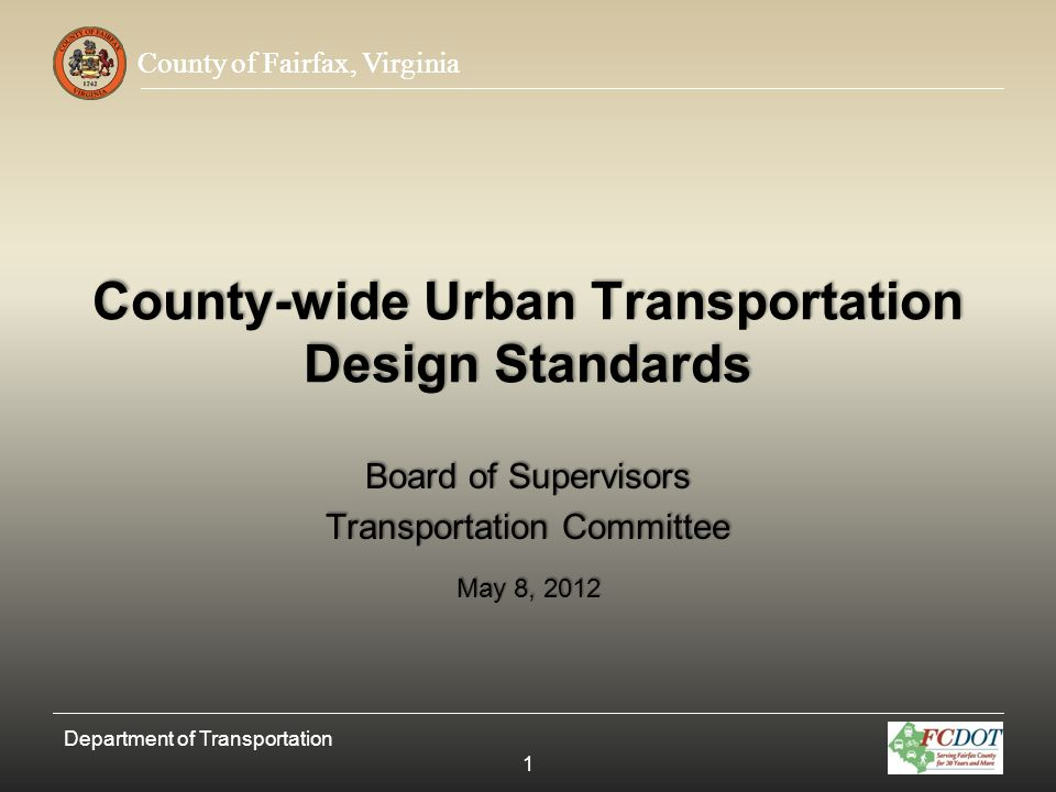 County-wide Urban Transportation Design Standards