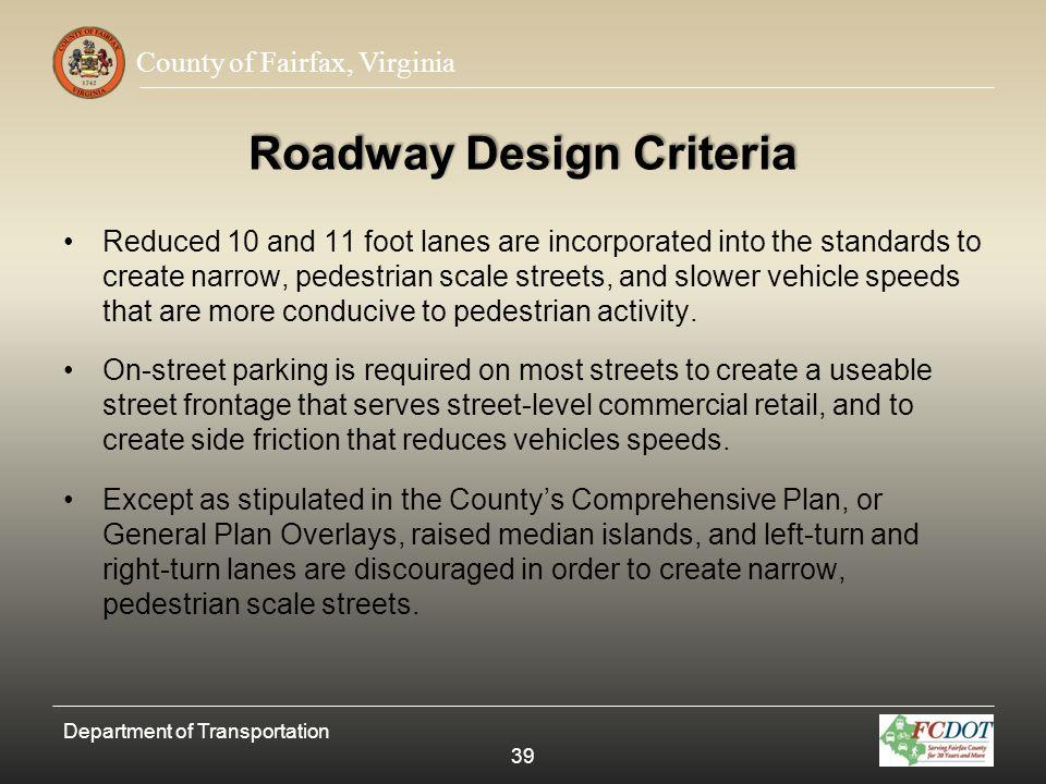Roadway Design Criteria
