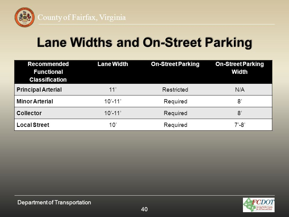 Lane Widths and On-Street Parking