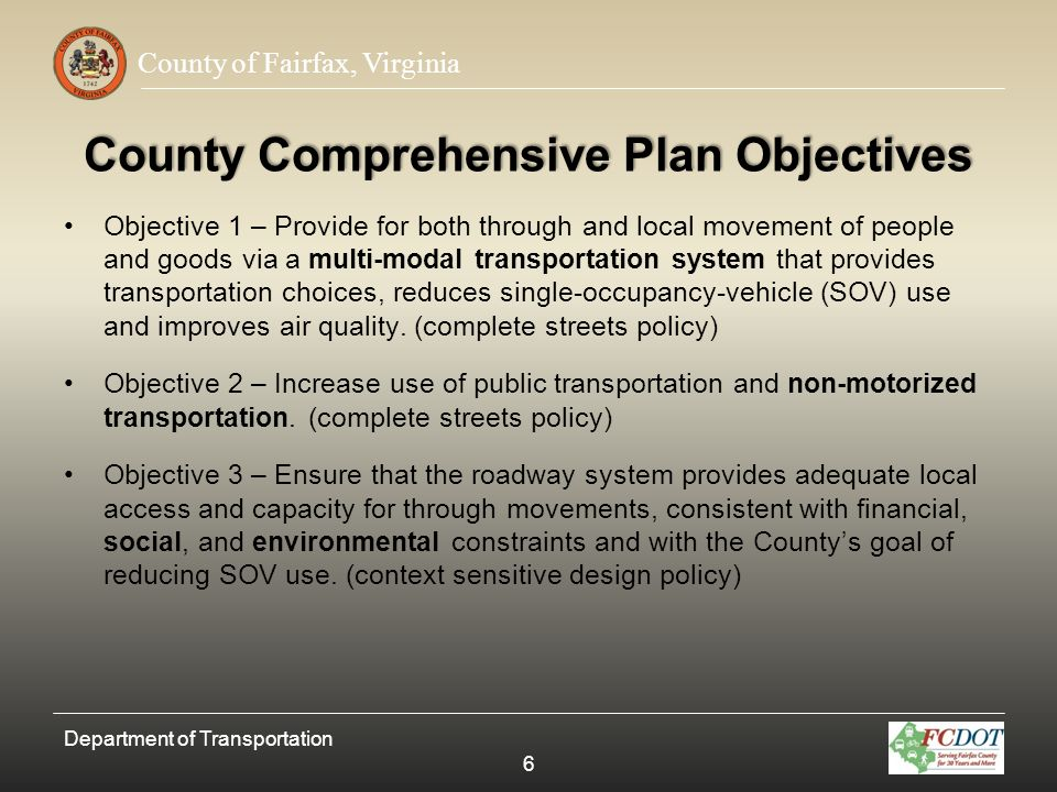 County Comprehensive Plan Objectives