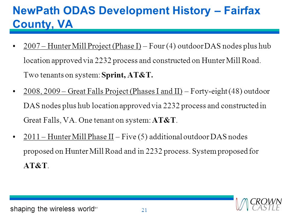 NewPath ODAS Development History – Fairfax County, VA