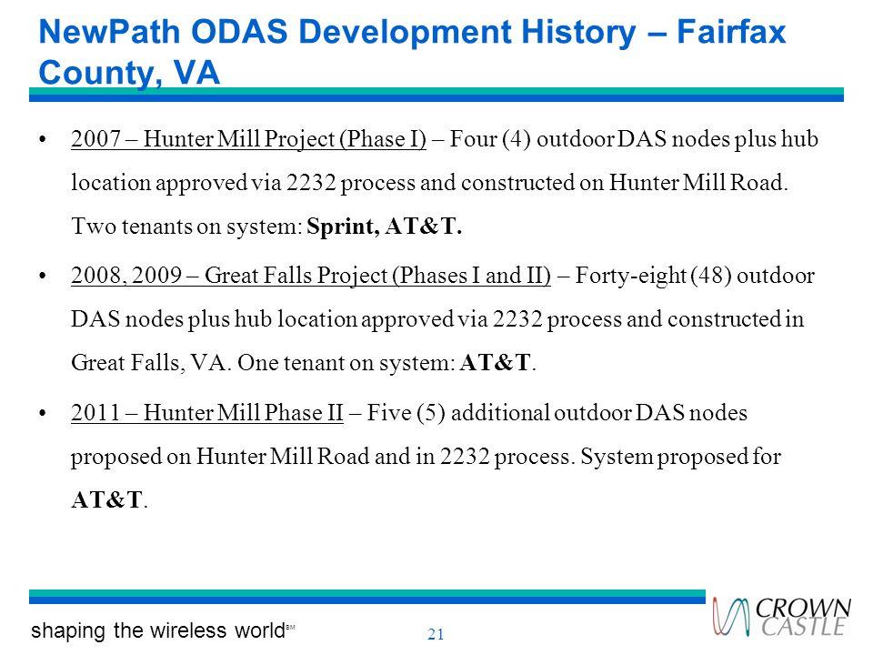 NewPath ODAS Development History – Fairfax County, VA