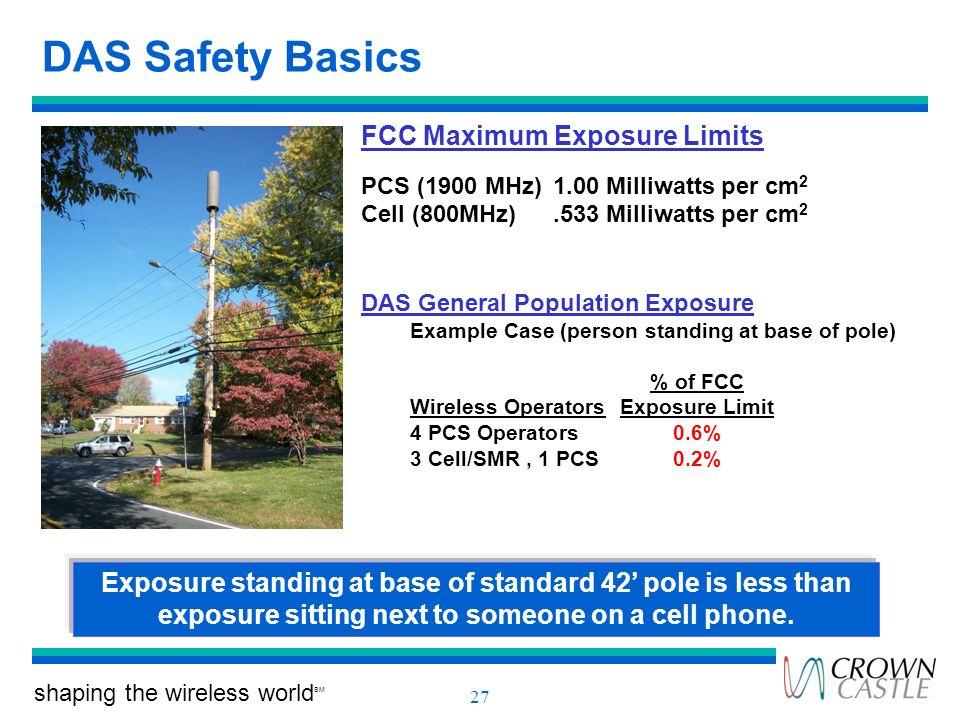 DAS Safety Basics FCC Maximum Exposure Limits