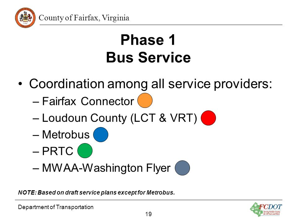 Phase 1 Bus Service Coordination among all service providers: