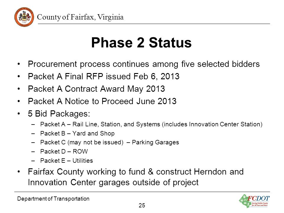 Phase 2 Status Procurement process continues among five selected bidders. Packet A Final RFP issued Feb 6, 2013.