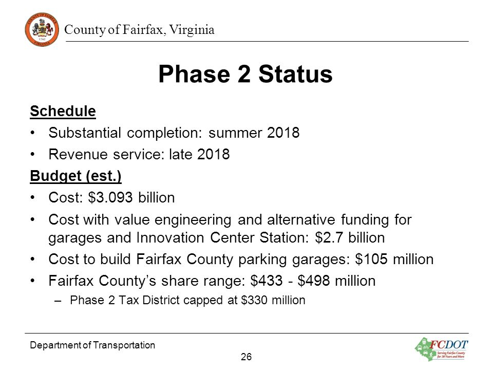 Phase 2 Status Schedule Substantial completion: summer 2018