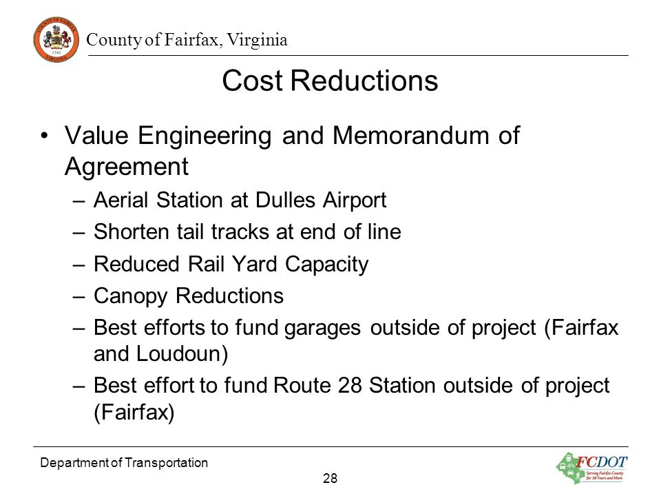 Cost Reductions Value Engineering and Memorandum of Agreement